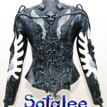 Women's jacket real genuine leather black-white color. Handmade high quality lambskin jacket, exclusive leather clothes. In stock!