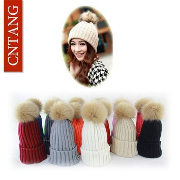 2016 Women Faux Rabbit Fur Hats Fashion Winter Beanies Female Knitted Warm Caps For Women Brand Pompon Hat Crochet Casual Cap
