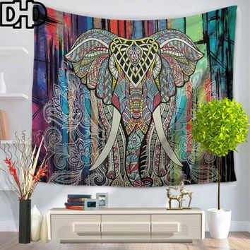 DHD 1Ps Indian Elephant Tapestry Colored Printed Mandala Religious  Wall Carpet Bohemia Beach Blanket Elephant Wall Hanging