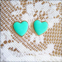 Aqua Blue Earrings Mint Green Heart Earrings Gold Plated Post Stud Earrings Wedding Bridesmaids Gift Bridal Jewelry Set