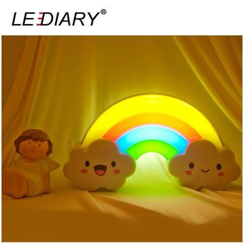 LEDIARY LED Rainbow Colorful Night Light Voice&Light Control Decorative Lights Baby Bedside Lamp Children Toy Batteries Powered