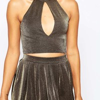 Missguided | Missguided Slash Front Metallic Crop Top at ASOS