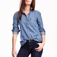 Chambray Button-Down Shirt | Old Navy