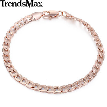 5mm Cut Hammered Flat Curb Mens Boys Chain Friendship Bracelet Rose Gold Filled Bracelet