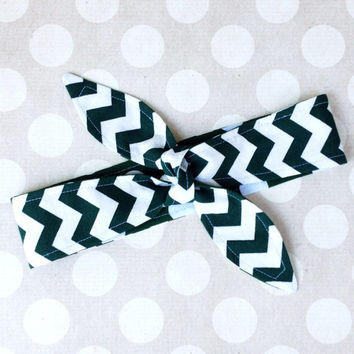 Game Day - GREEN & WHITE Adult Dolly Bow REVERSIBLE Tie Up Headscarf Headband Bandana Hair Accessory Boho Preppy Rockabilly - Michigan State