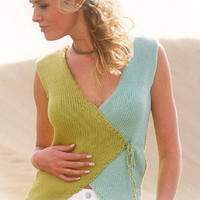Green vest Wrap cardigan pistachio green tank top knitted vest  knitted pink blue black waistcoat cotton vest CHOICE of COLORS  Drops Lilith