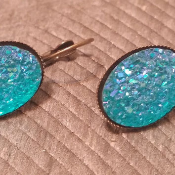 Druzy earrings-  ab aqua drusy bronze tone dangle druzy earrings