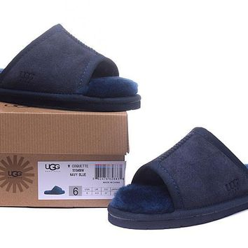 ESBON UGG Open Toe Slipper Sheepskin Women Men Fashion Casual Wool Winter Snow Boots Blue