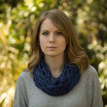 Spring Knit Cowl, Dark Blue Women's Accessories, Statement Necklace
