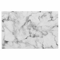 "Kess Original ""White Marble"" Gray White Decorative Door Mat"