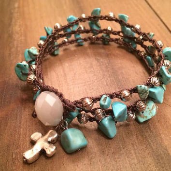 Boho Bracelet, Turquoise and Silver, Cross Bracelet, Wrap Bracelet, Turquoise Necklace, Natural Stone, Crochet Bracelet, Rustic Jewelry