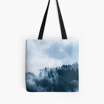 'Fog Forest Mointain' Tote bag by Creative-World