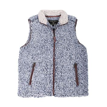 Frosty Tipped Double Up Vest in Vintage Blue by True Grit - FINAL SALE