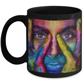 Beautiful Artistic Colorful Face - Coffee / Hot Chocolate / Tea Mug - 11 oz Ceramic Cup