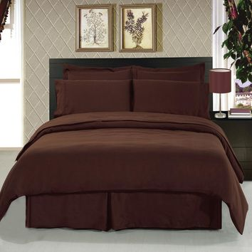Solid 8-Piece Bedding Set Super Soft Microfiber Sheets+Duvet+Alternative