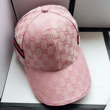 GUCCI Women Men Embroidery Sports Sun Hat Baseball Cap Hat   Pink