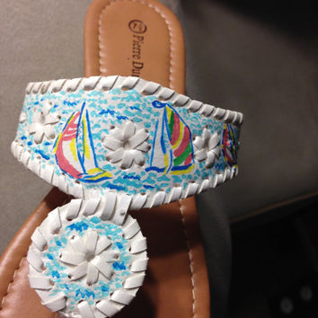 "Lilly Pulitzer Inspired Hand-Painted Jack Rogers Look-Alikes in ""You Gotta Regatta"""