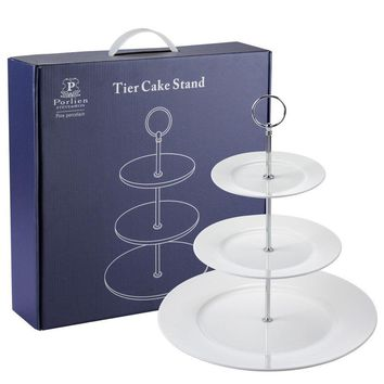 Porlien 3 Tier Cake Stand/Cupcake Stand for Desserts, White, Round, Portable Blue Gift Box