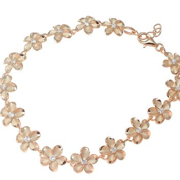 "PINK ROSE GOLD 925 SILVER HAWAIIAN FANCY PLUMERIA FLOWER BRACELET CZ 10MM 7""+"