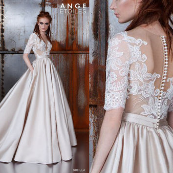 Wedding dress SIBILLA, Wedding dresses A-line, Wedding dresses ball gown, Wedding dresses 3/4 Sleeves