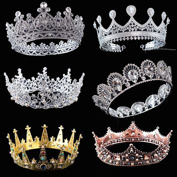 King Queen Crowns Unisex Wedding Bridal Tiara Full Round Diadem Luxury Rhinestone Wedding Hair Accessories