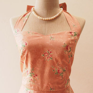 Ready to Ship - Nude Pink Floral Dress, Vintage Inspired Dress, Summer Floral Tea Dress, Halter Swing Skirt, Able to Put Crinoline, S,M,L,XL