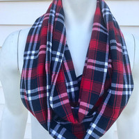 NY Giants-Women's-Handmade-Red-Blue-Flannel-Plaid-Infinity Scarf-Fall-Winter-Chunky-Gifts for Her-Accessories