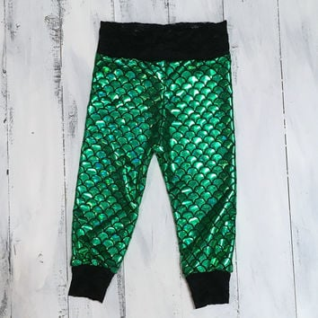 mermaid baby toddler kids pants leggings outfit stretch knit Ariel inspired  green mermaid fish scale with black lace cuffs