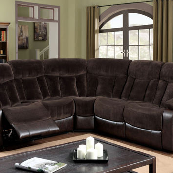 Furniture of america CM6809 3 pc hampshire two tone brown champion fabric and faux leather sectional sofa with recliner ends