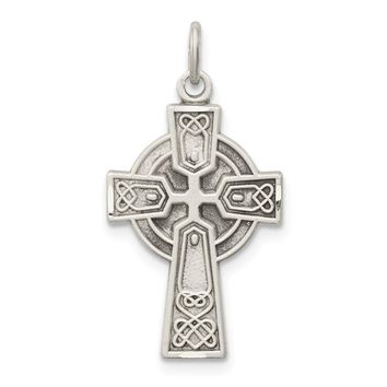 925 Sterling Silver Antiqued Small Celtic Cross Shaped Pendant