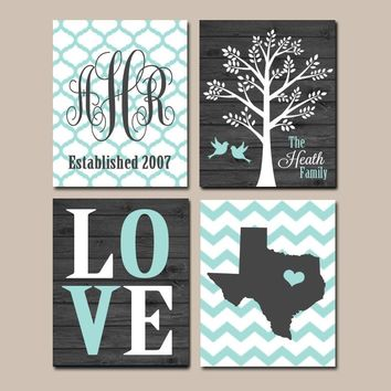 Family Tree Custom Wall Art, CANVAS Chevron Monogram Couple State LOVE Bird Tree Established Date Print Set of 4 Home Decor Wedding Gift Art