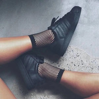 2017 Chic Thin Fishnet Sock Women Harajuku Goth Punk Unif Series Cool Female Fishnet Short Socks Females Hollow Out ZWW0440-45