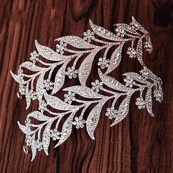 Luxury Silver Crystal Leaf Vine Bridal