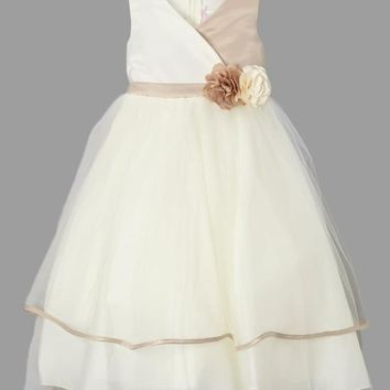(Sale) Girls Size 7/8 Champagne Cross-Over Bodice Dress with Tiered Tulle Skirt