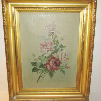 Signed Antique Oil Painting 'Otto Prosche 1910' Floral Roses Still Life Canvas