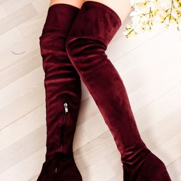 WINE SUEDE ALMOND TOE CHUNKY OVER THE KNEE HIGH HEEL BOOTS
