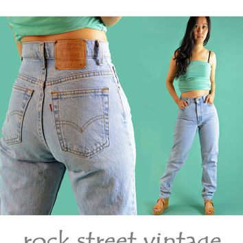 80s Vintage Levis Jeans High Waisted Jeans / Womens Levis Distressed Faded Wash LEVI 550 Denim Blue Jeans / Taper Leg Jeans 28 Waist