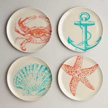 Seascape Plates, Set of 4