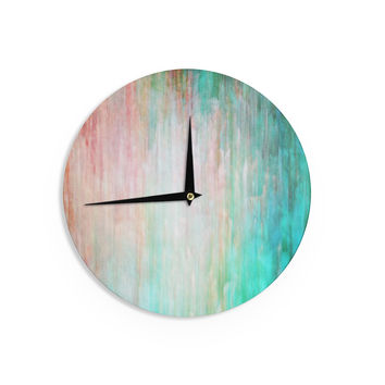 """Iris Lehnhardt """"Color Wash Teal"""" Blue Turquoise Wall Clock"""