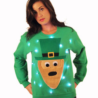 Light Up St Pattys Day Sweatshirt - Leprechaun!
