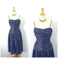 Vintage 80s Blue Silver Dress, RIMINI Bridesmaid Dress, Evening Cocktail,  Glam Party Dress