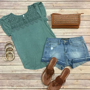 All About that Lace Top: Sage