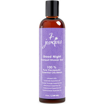 7 Jardins Good Night Tranquil Bath & Shower Gel - Calming, Relaxing, Sleep Aromatherapy Enriched with Lavender, Sweet Orange, Geranium, Cedarwood & Frankincense Essential Oils. 100% Sulfate Free