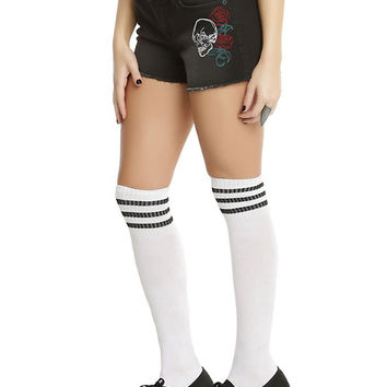 Blackheart Skull & Rose Embroidered Shorts