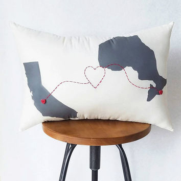 Love Connection State & Providence Throw Pillow, Decorative Pillow,Dorm Decor, Foreign Exchange Gift, Friendship Gift, Housewarming Gift