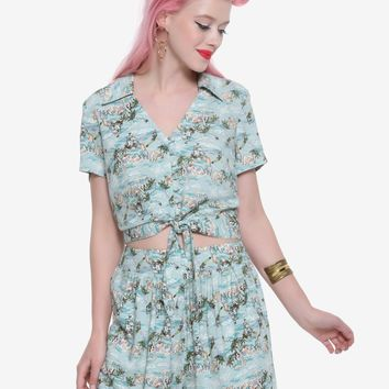 Licensed cool Her Universe Disney Peter Pan Mermaid Lagoon Retro Tie Front Crop Woven ButtonUp
