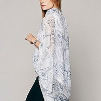 Free People Womens Simple Love Kimono - Blue, One