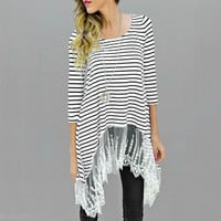 Black and White Striped Asymmetric T-Shirt with Lace