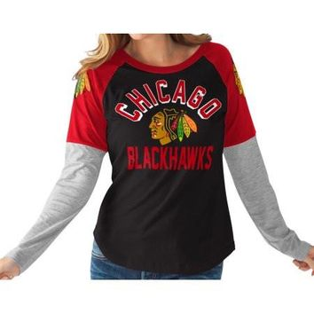Women's Chicago Blackhawks Power Play L/S Tee, Team Color-G-III