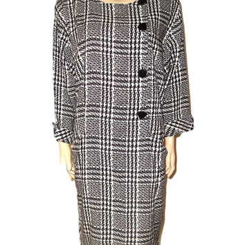 True Vintage 80s Avant Garde ALGO B&W Black and White Hounstooth Kimono Cone Shaped Sac Dress L/XL/16/Plus Size